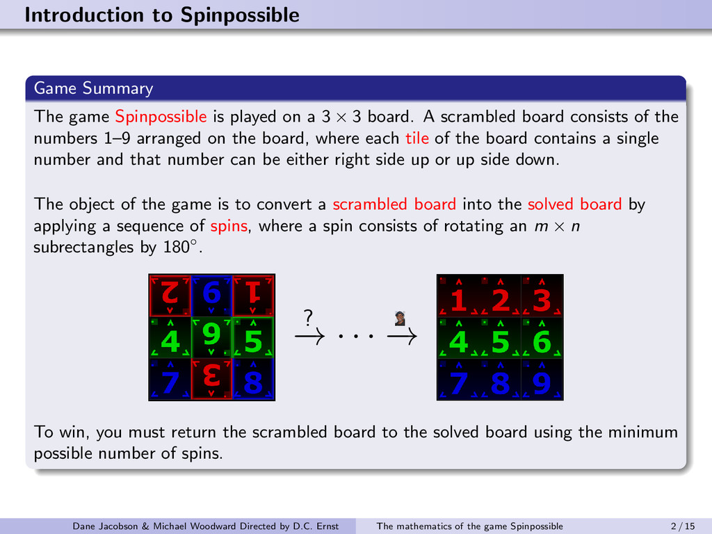 Introduction to Spinpossible Game Summary The g...