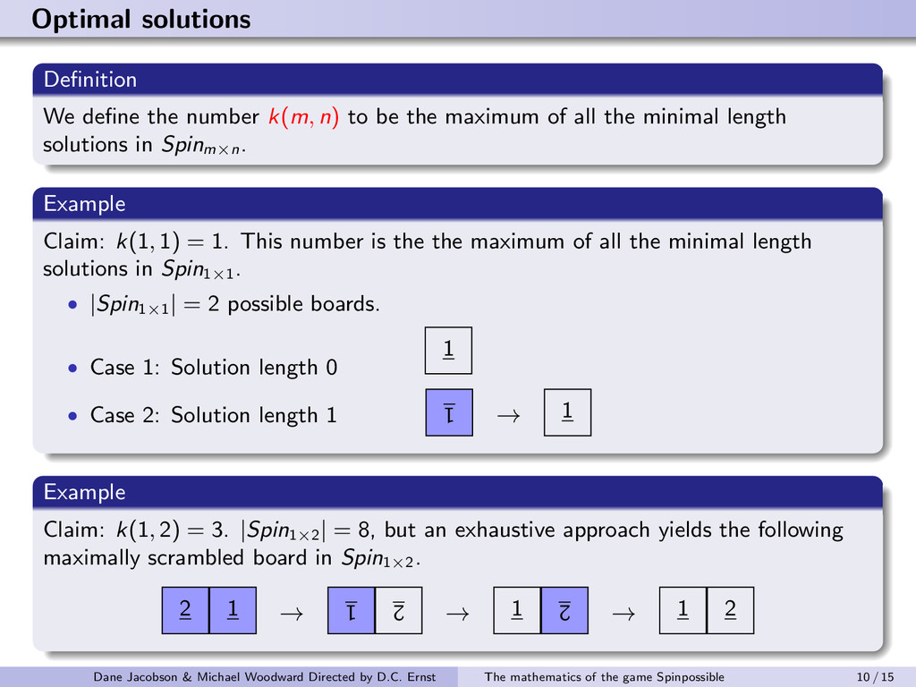 Optimal solutions Definition We define the number...