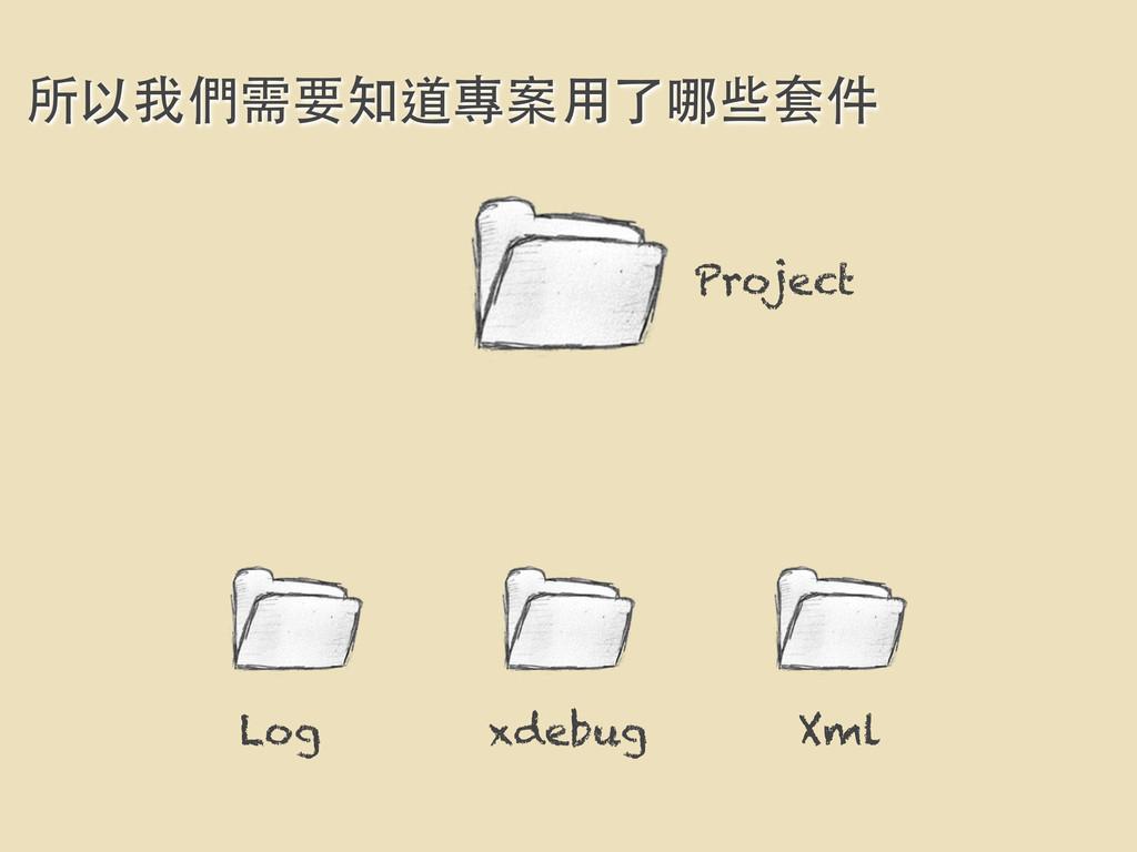 Project 所以我們需要知道專案⽤用了哪些套件 Log xdebug Xml