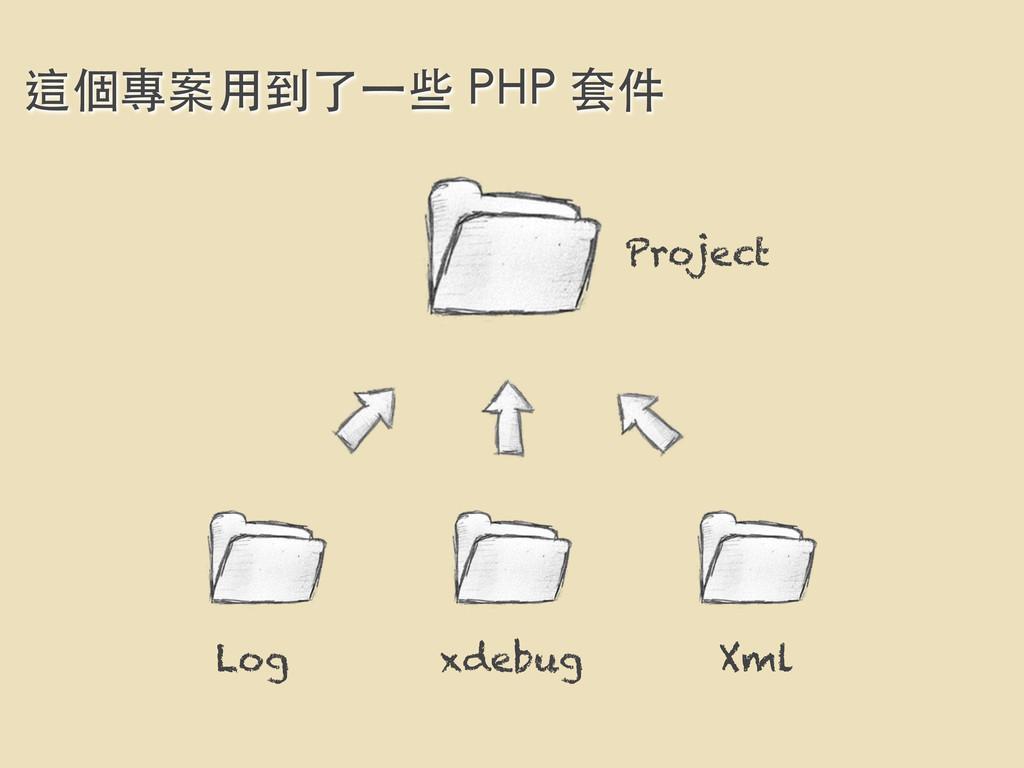 Log xdebug Xml Project 這個專案⽤用到了⼀一些 PHP 套件