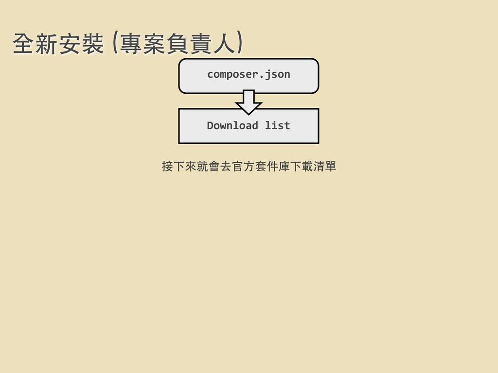 全新安裝 (專案負責⼈人) composer.json Download list 接下...