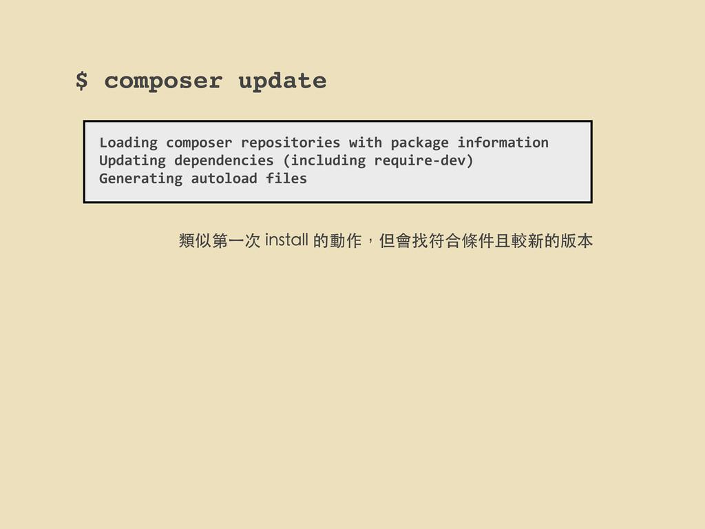 $ composer update Loading composer reposi...