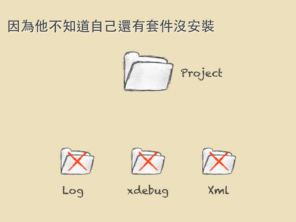 因為他不知道⾃自⼰己還有套件沒安裝 Project Log xdebug Xml