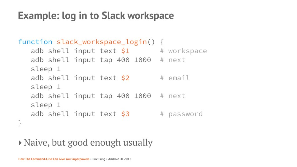 Example: log in to Slack workspace function sla...
