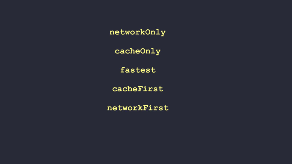 networkFirst cacheFirst fastest cacheOnly netwo...