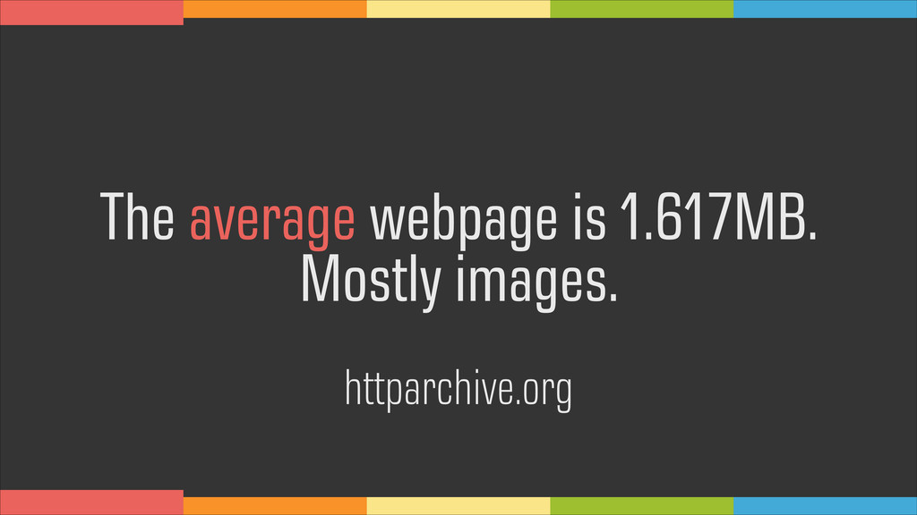 The average webpage is 1.617MB. Mostly images. ...