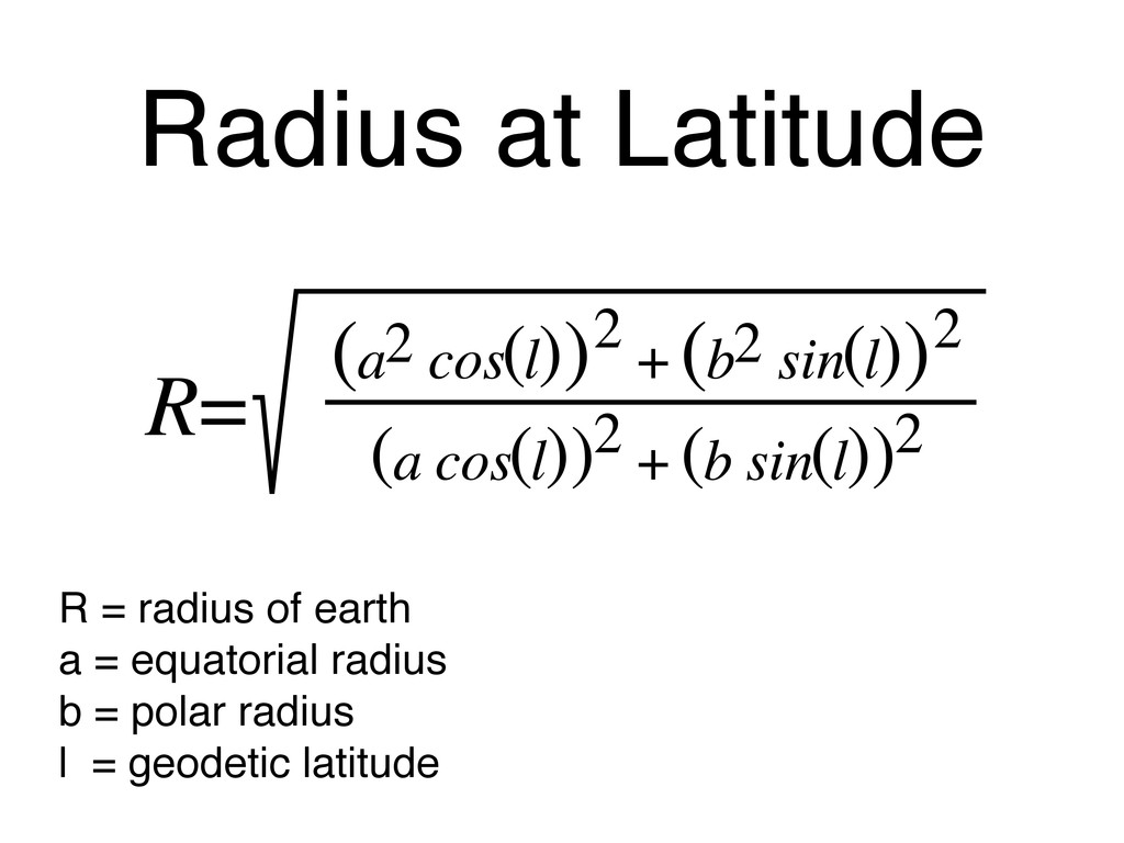 Radius at Latitude R = radius of earth a = equa...