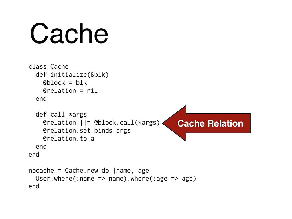 class Cache def initialize(&blk) @block = blk @...