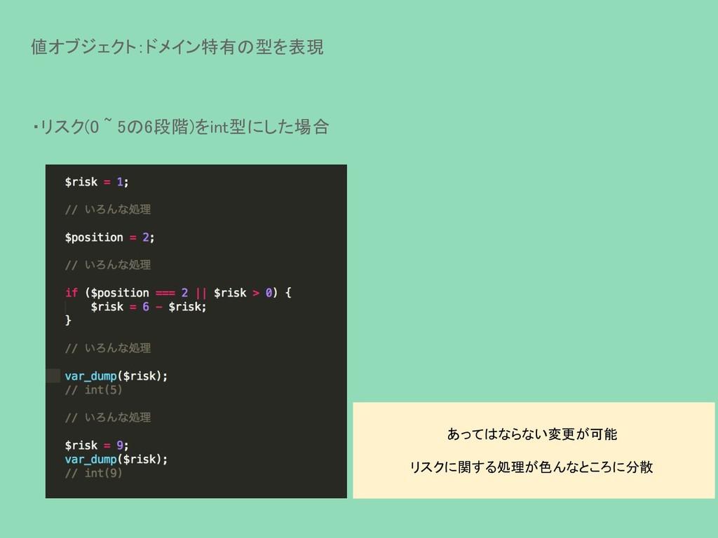 値オブジェクト:ドメイン特有の型を表現 ・リスク(0 ~ 5の6段階)をint型にした場合 あ...