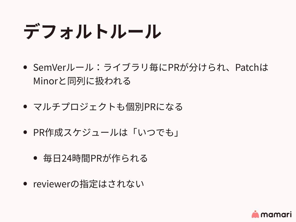 デフォルトルール • SemVerルール:ライブラリ毎にPRが分けられ、Patchは Mino...
