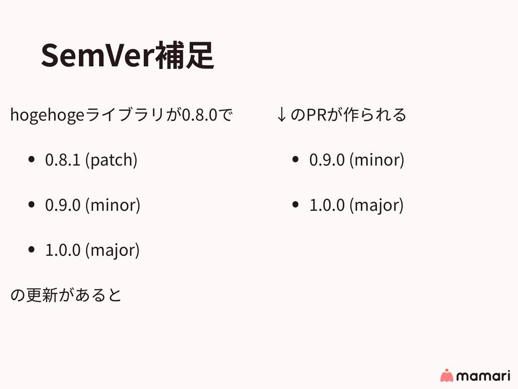 SemVer補⾜ hogehogeライブラリが0.8.0で • 0.8.1 (patch) •...