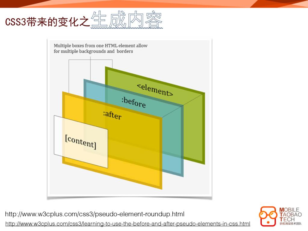 CSS3带来的变化之生成内容 http://www.w3cplus.com/css3/lear...
