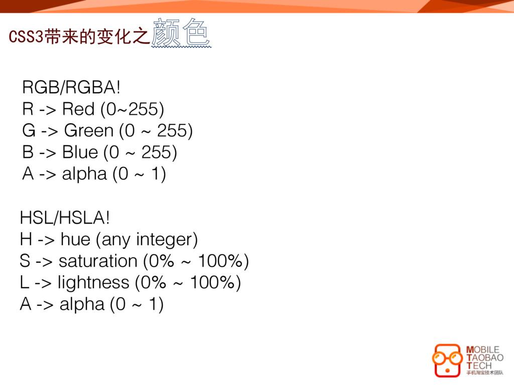 CSS3带来的变化之颜色 RGB/RGBA! R -> Red (0~255) G -> Gr...