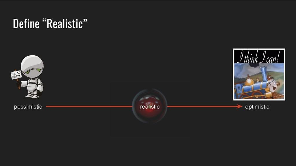 "Define ""Realistic"" optimistic pessimistic reali..."
