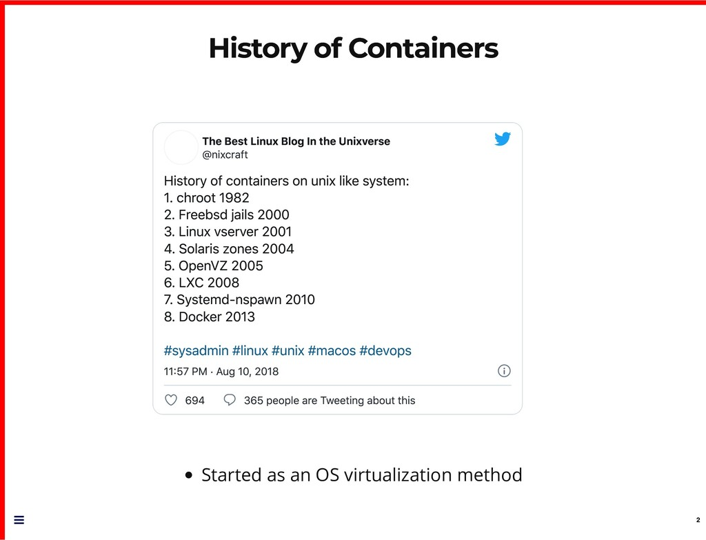 History of Containers History of Containers Sta...