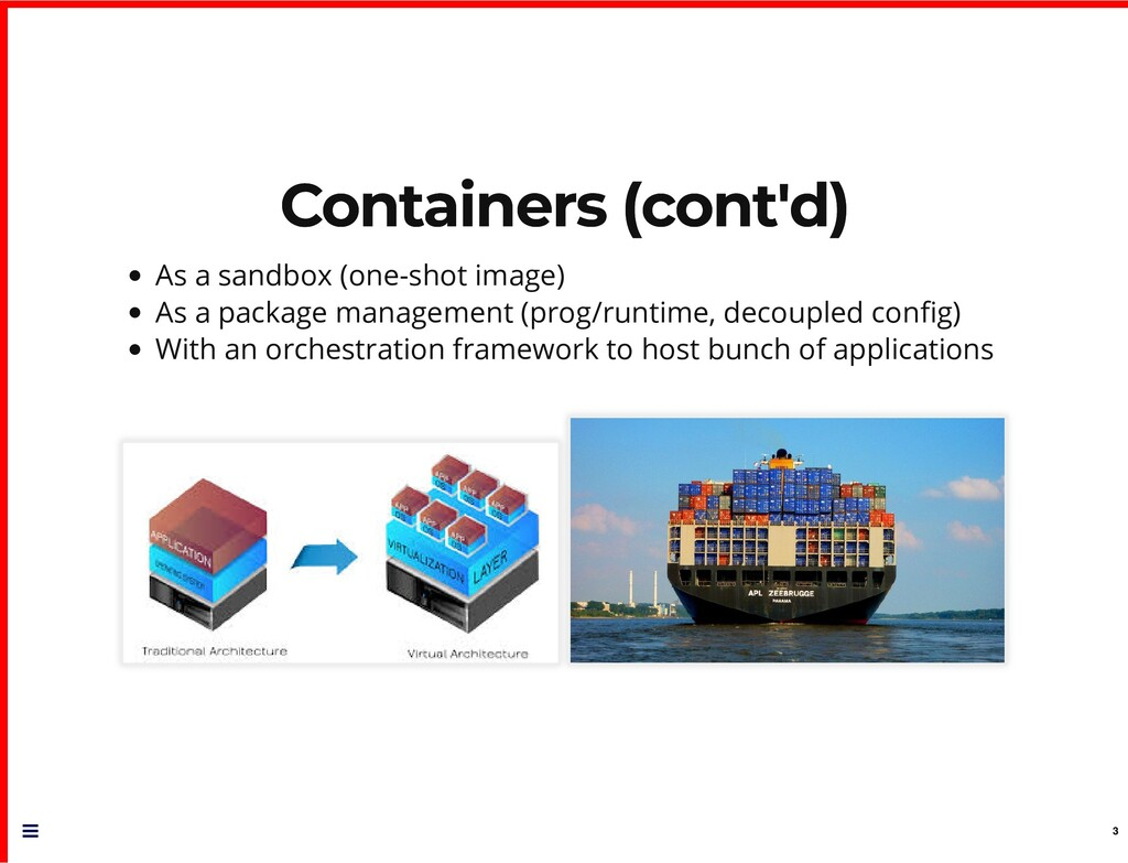 Containers (cont'd) Containers (cont'd) As a sa...