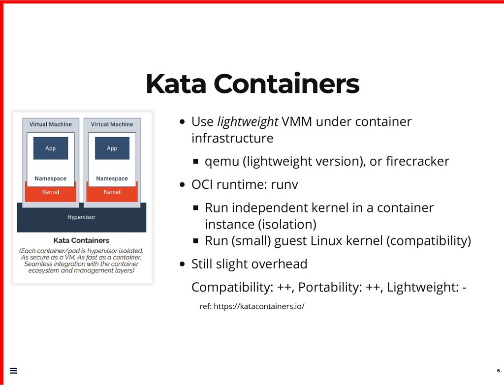 Kata Containers Kata Containers Use lightweight...
