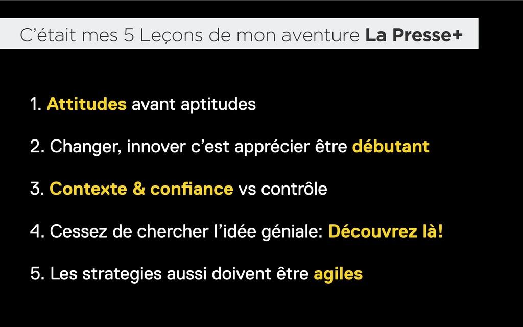 C'était mes 5 Leçons de mon aventure La Presse+...