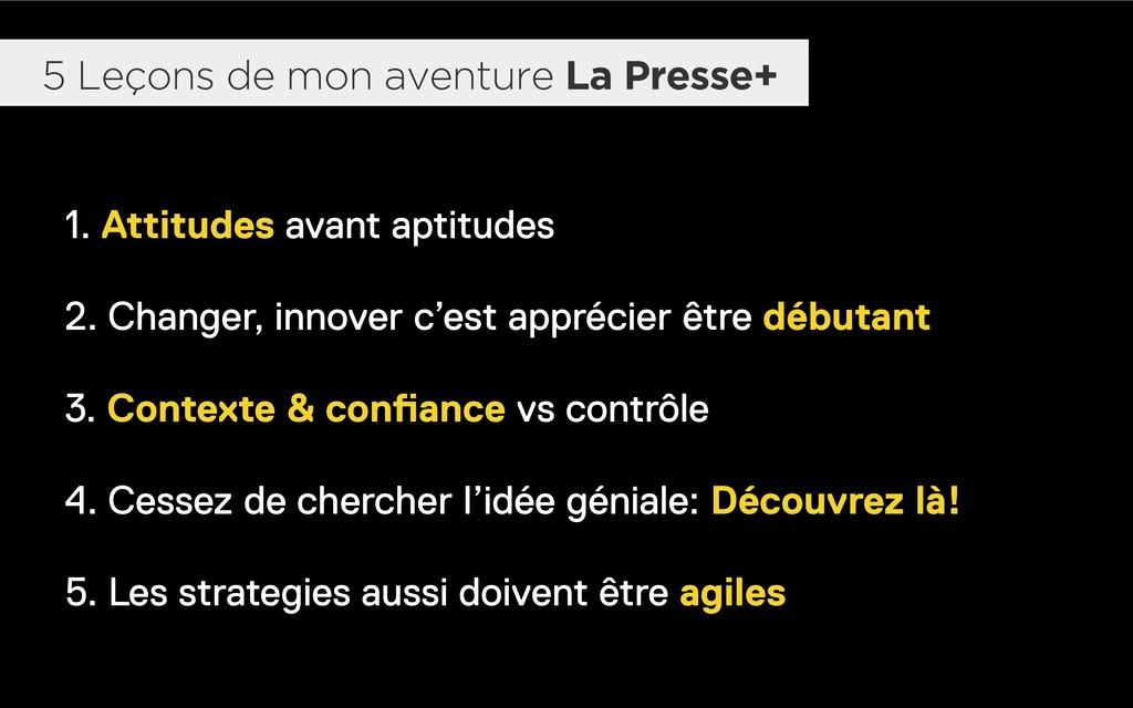 5 Leçons de mon aventure La Presse+ 1. Attitude...