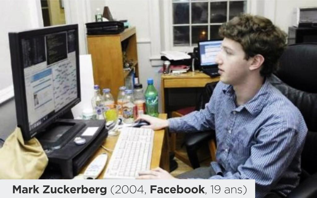 Mark Zuckerberg (2004, Facebook, 19 ans)