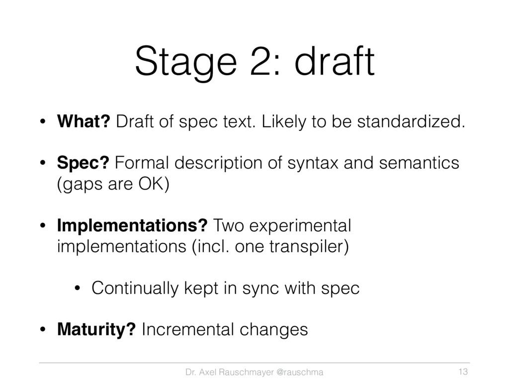 Dr. Axel Rauschmayer @rauschma Stage 2: draft •...