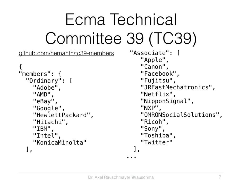 Dr. Axel Rauschmayer @rauschma Ecma Technical C...