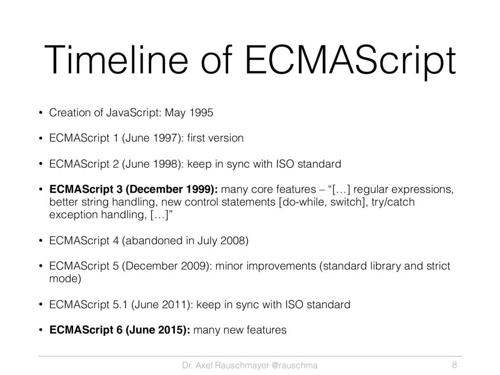 Dr. Axel Rauschmayer @rauschma Timeline of ECMA...