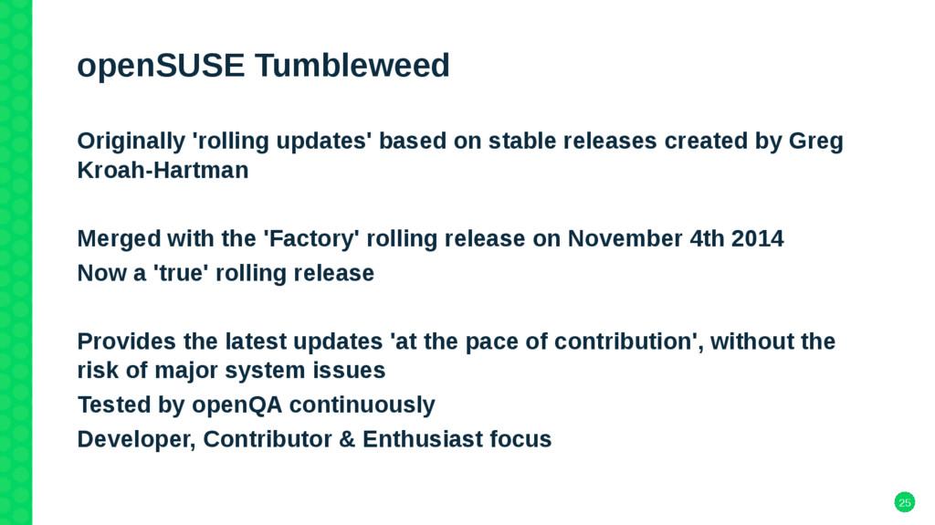25 openSUSE Tumbleweed Originally 'rolling upda...