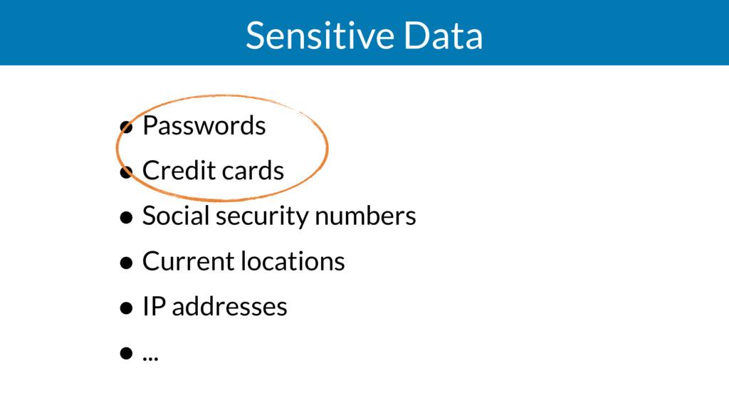 Sensitive Data • Passwords • Credit cards • Soc...