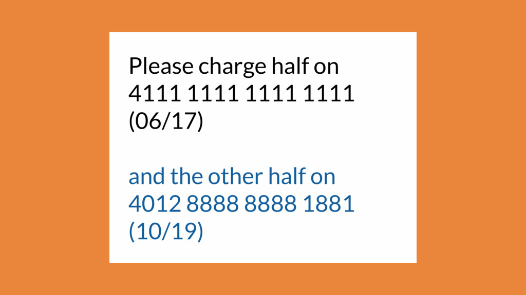 Please charge half on 