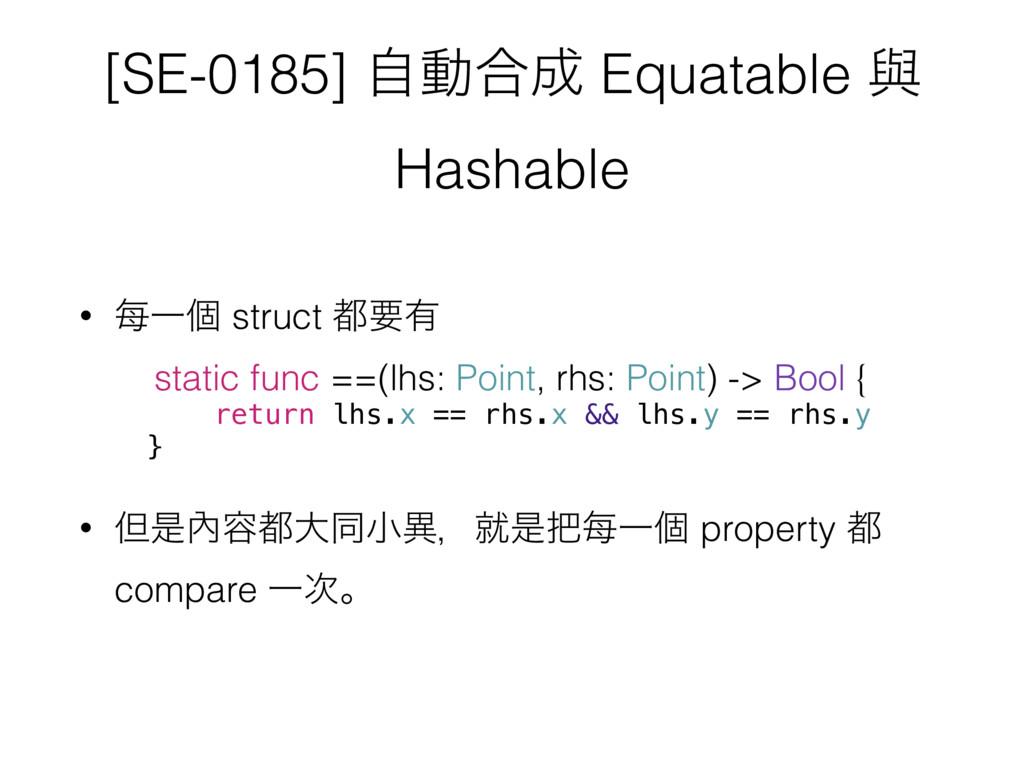 [SE-0185] ࣗಈ߹ Equatable ᢛ Hashable • 㑌Ұݸ struc...
