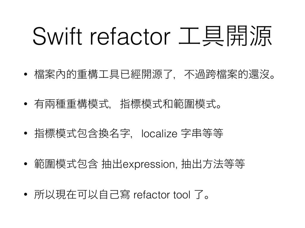 Swift refactor ۩։ݯ • 䈕Ҋ㚎తॏߏ۩ቮៃ։ݯྃɼෆաލ䈕Ҋతؐᔒɻ •...