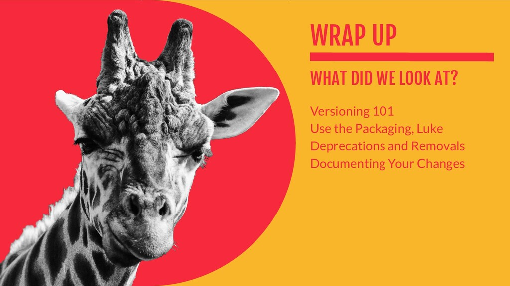WRAP UP WHAT DID WE LOOK AT? Versioning 101 Use...