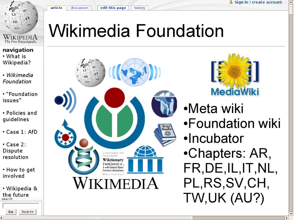 navigation ● What is Wikipedia? ● Wikimedia Fou...