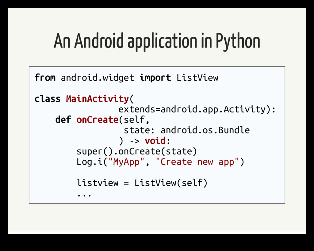 An Android application in Python from android.w...