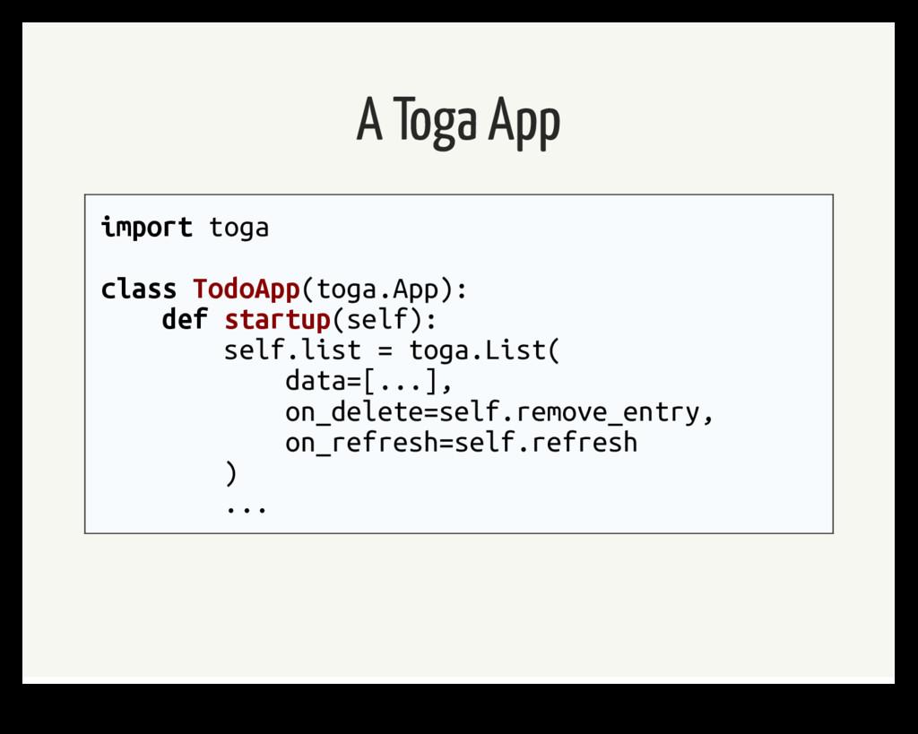 A Toga App import toga class TodoApp(toga.App):...
