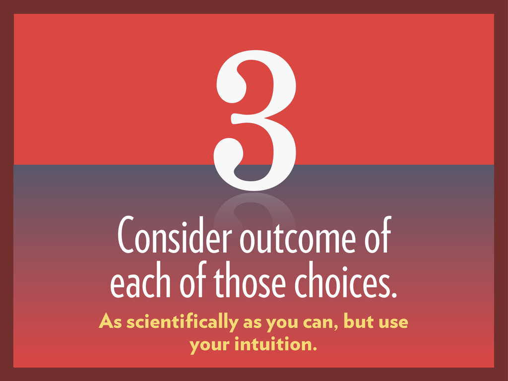 3 Consider outcome of each of those choices. As...