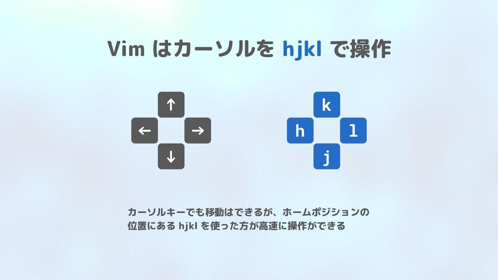 Vim はカーソルを hjkl で操作 ↑ ← → ↓ k j l h カーソルキーでも移動は...
