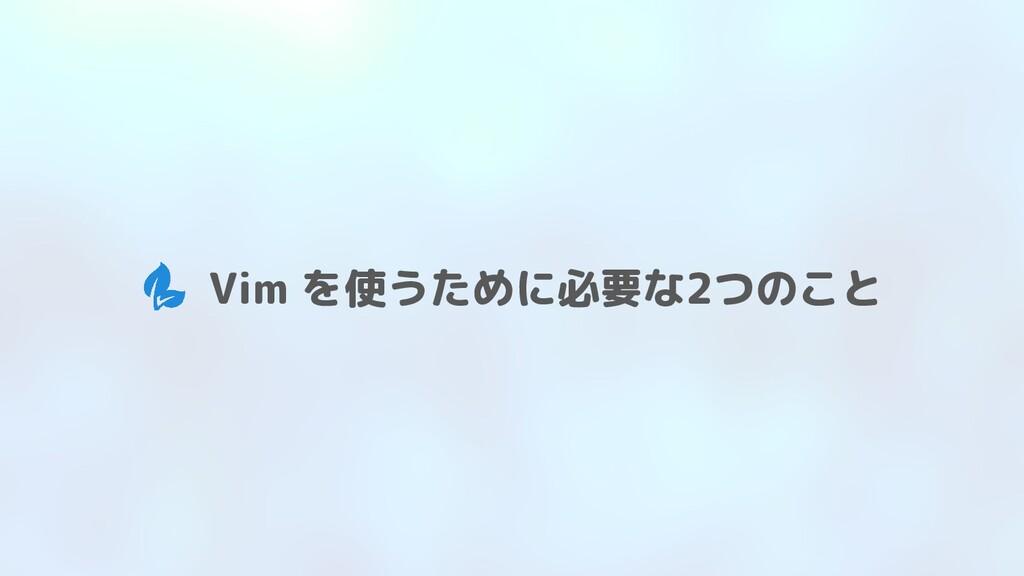 Vim を使うために必要な2つのこと