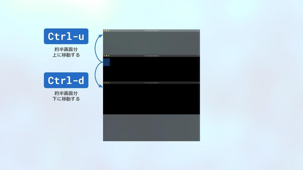 Ctrl-d 約半画面分 下に移動する Ctrl-u 約半画面分 上に移動する