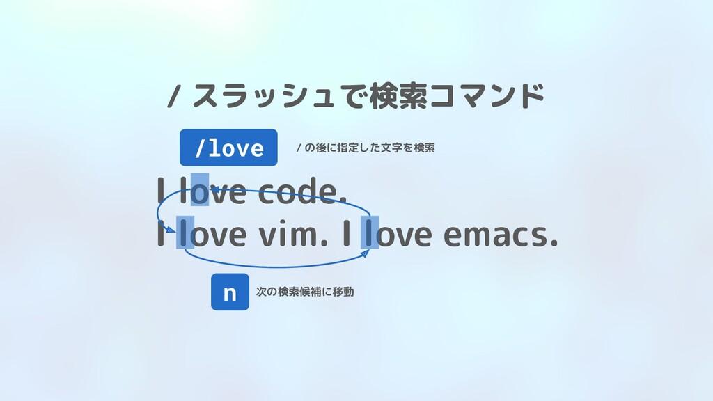 / スラッシュで検索コマンド I love code. I love vim. I love ...