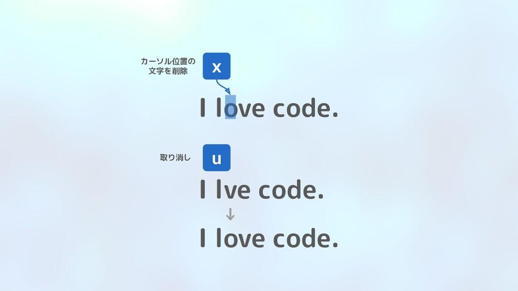 I love code. x カーソル位置の 文字を削除 I lve code. u 取り消し...