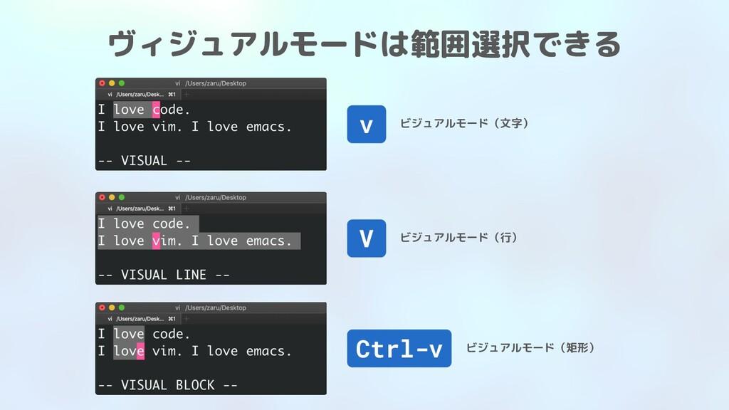 ヴィジュアルモードは範囲選択できる v ビジュアルモード(文字) V ビジュアルモード(行) ...
