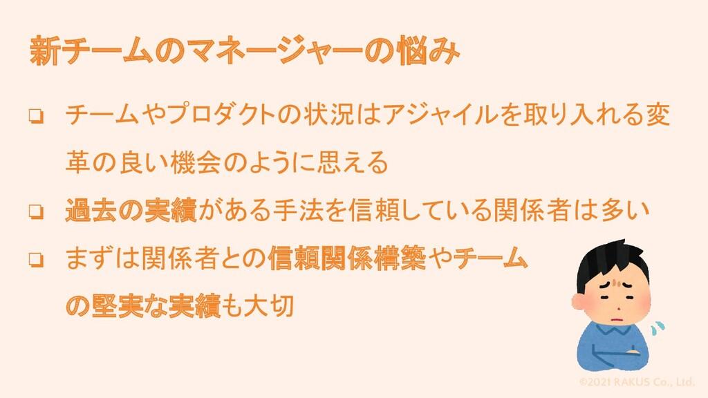 ©2021 RAKUS Co., Ltd. 新チームのマネージャーの悩み ❏ チームやプロダク...