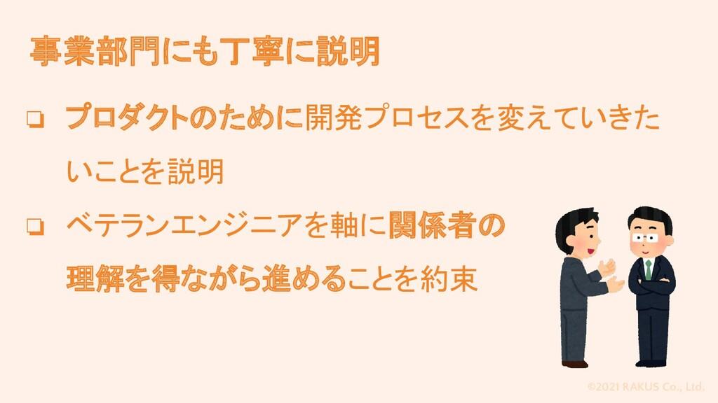 ©2021 RAKUS Co., Ltd. 事業部門にも丁寧に説明 ❏ プロダクトのために開発...