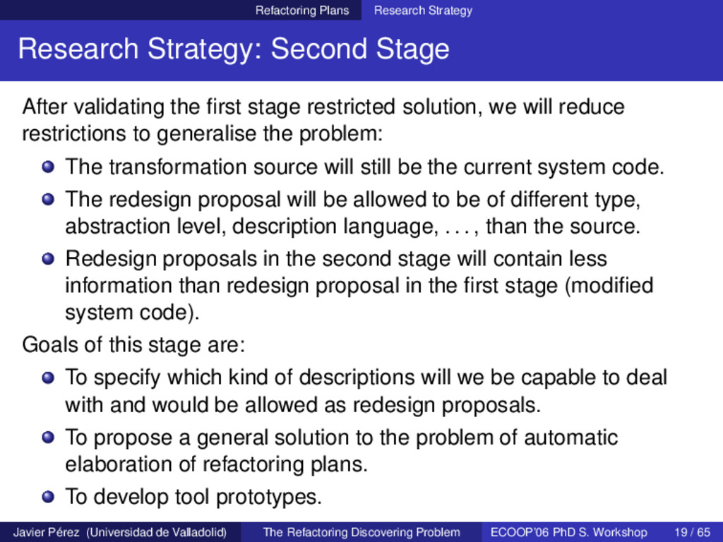Refactoring Plans Research Strategy Research St...