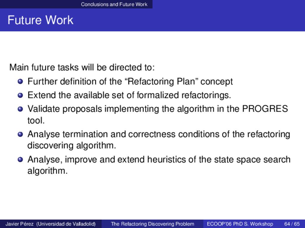 Conclusions and Future Work Future Work Main fu...