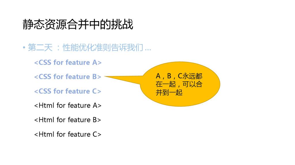• 第二天 :性能优化准则告诉我们 … <CSS for feature A> <CSS fo...