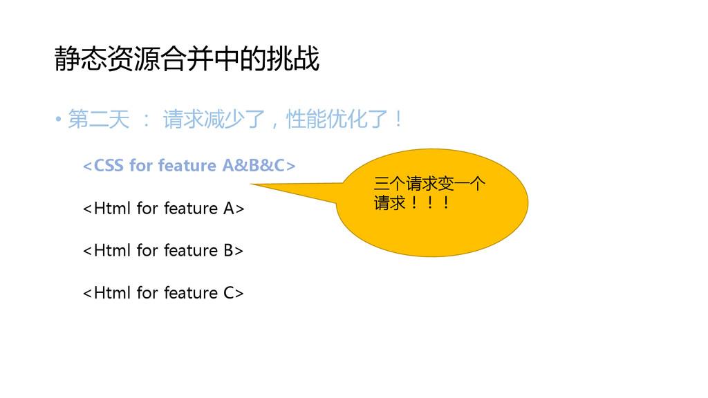 • 第二天 : 请求减少了,性能优化了! <CSS for feature A&B&C> <H...