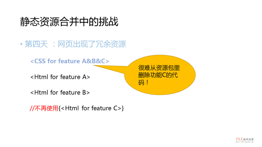 • 第四天 :网页出现了冗余资源 <CSS for feature A&B&C> <Html ...